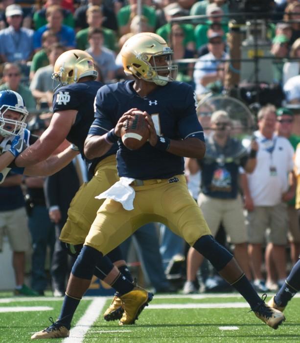 Irish quarterback DeShone Kizer readies to pass during Notre Dame 38-35 loss to Duke on Saturday.