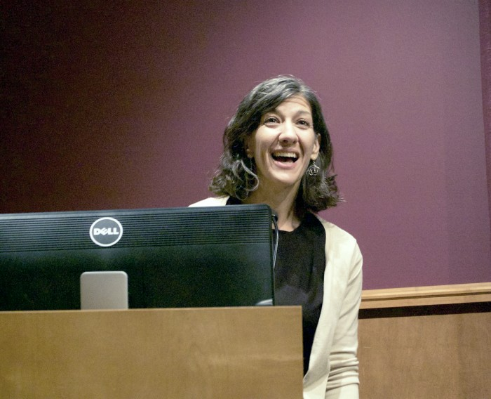 Julie Hanlon Rubio speaks at Saint Mary's College on Tuesday night. Rubio's lecture considered the relationship between religion and politics in light of the upcoming presidential election.