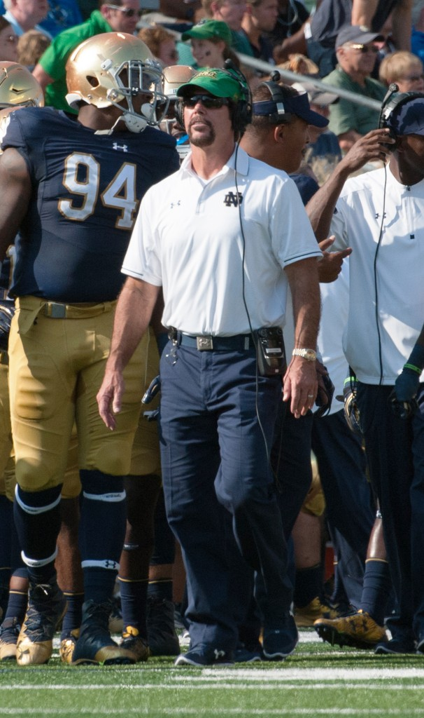 Former Irish defensive coordinator Brian VanGorder checks the scoreboard during Notre Dame's loss to Duke last weekend. VanGorder was replaced by Greg Hudson on Sunday.