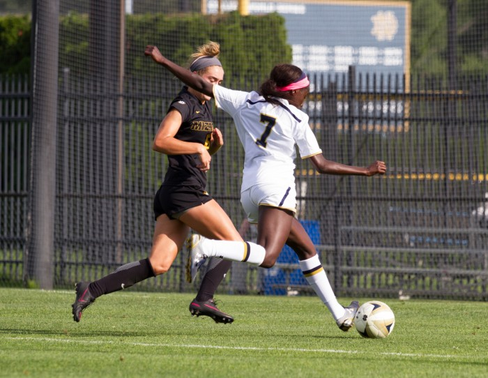 Junior forward Karin Muya dribbles around a defender in Notre Dame's 1-0 victory over Mizzouri on Sept. 4.