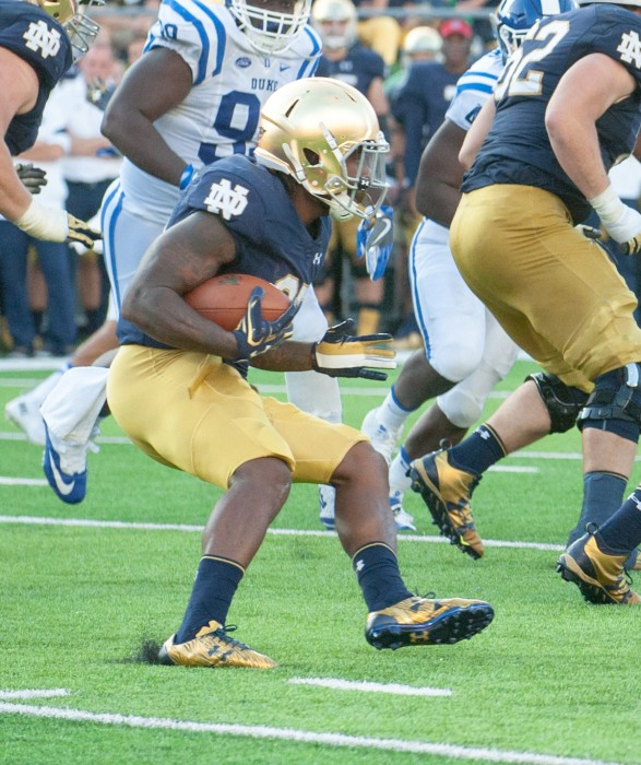 Irish senior running back Tarean Folston looks to make a cut while rushing in Notre Dame's 38-35 loss to Duke on Sept. 24.