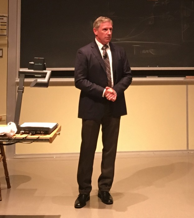 Kevin Briggs speaks Thursday night in DeBartolo Hall. The former highway patrolman has saved numerous people from committing suicide on the Golden Gate Bridge.
