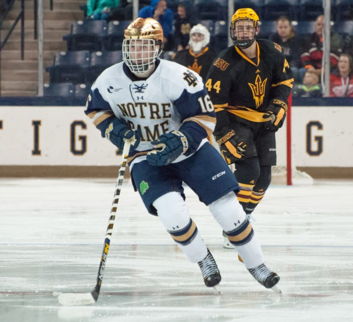 Irish junior forward Connor Hurley skates up the ice in Notre Dame's 4-2 victory over Arizona State.