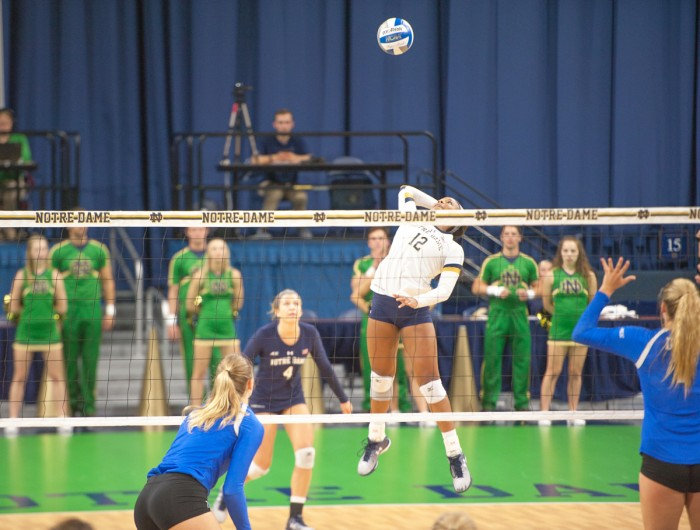 Irish freshman outside hitter Jemma Yeadon gets ready to spike the ball during Notre Dame's 3-1 victory   over Duke on Sept. 30 at Purcell Pavilion. Yeadon tallied 18 kills, 29 digs and 7 blocks in the match.