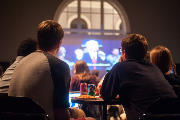 Students gather in the LaFortune Ballroom to watch the second presidential debate Sunday. The Notre Dame Forum and ND Voteshosted the debate watch, the third in a series of debate watches this year.