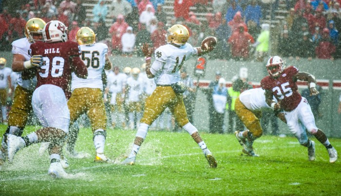 Notre Dame junior quarterback DeShone Kizer winds up to pass during Saturday's 10-3 loss to North Carolina State.