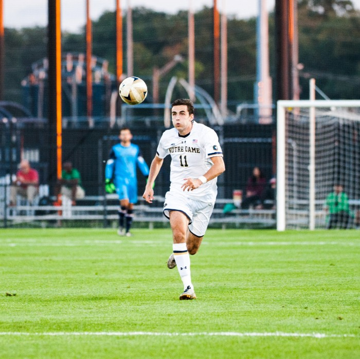 Sophomore defender Sean Dedrick runs after the ball in a game against Indiana on Oct. 4 at Alumni Stadium. The Irish won 4-0.