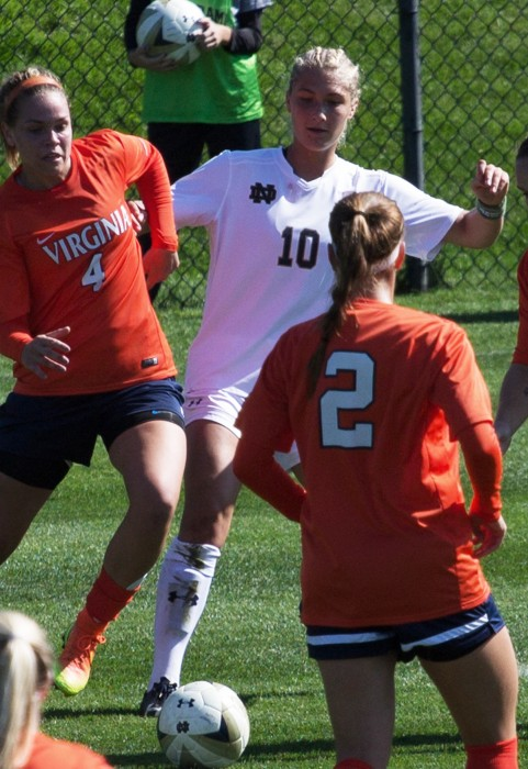 Freshman forward Jennifer Westendorf fights for a ball Notre Dame's 1-0 loss to Virginia on Sunday.