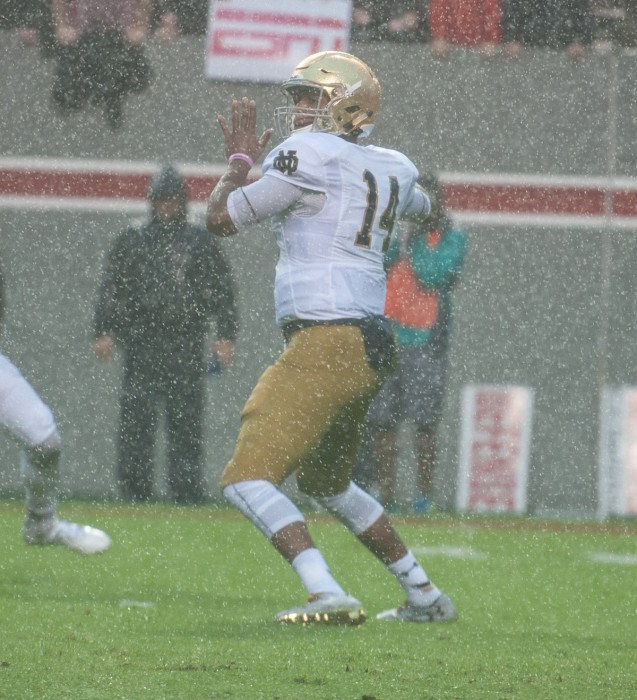 Irish junior quarterback DeShone Kizer winds up to throw a pass in Notre Dame's 10-3 loss to Stanford on Saturday.