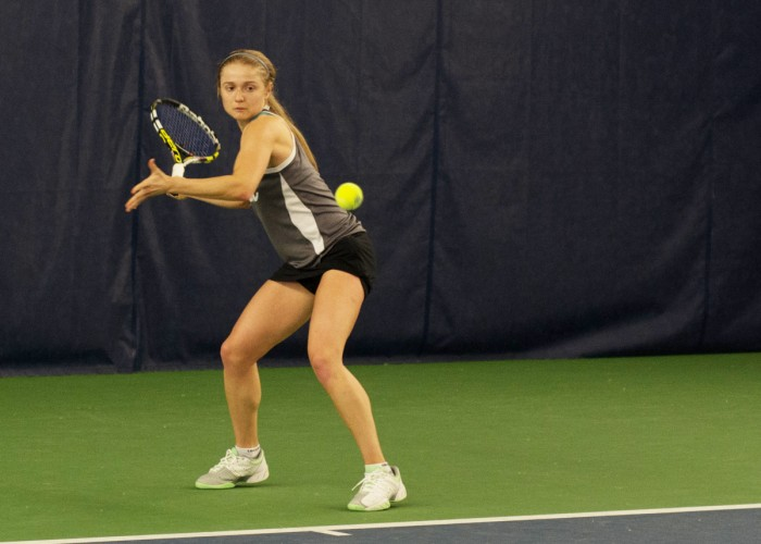 Irish senior Monica Robinson steps into a forehand during Notre Dame's 6-1 win over Indiana on Feb. 20 at Eck Tennis Pavilion.