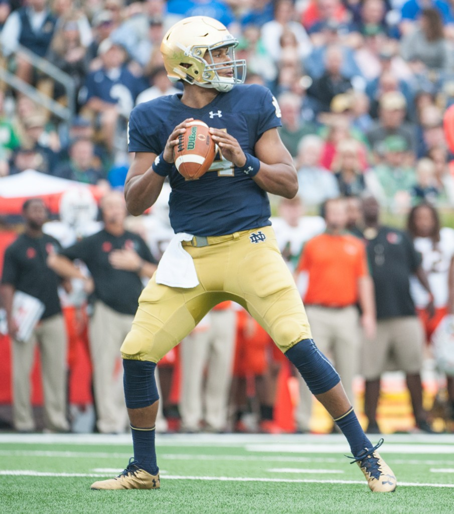 Irish junior quarterback DeShone Kizer drops back during Notre Dame's win. He finished 25-for-38 for 263 yards and two touchdowns.
