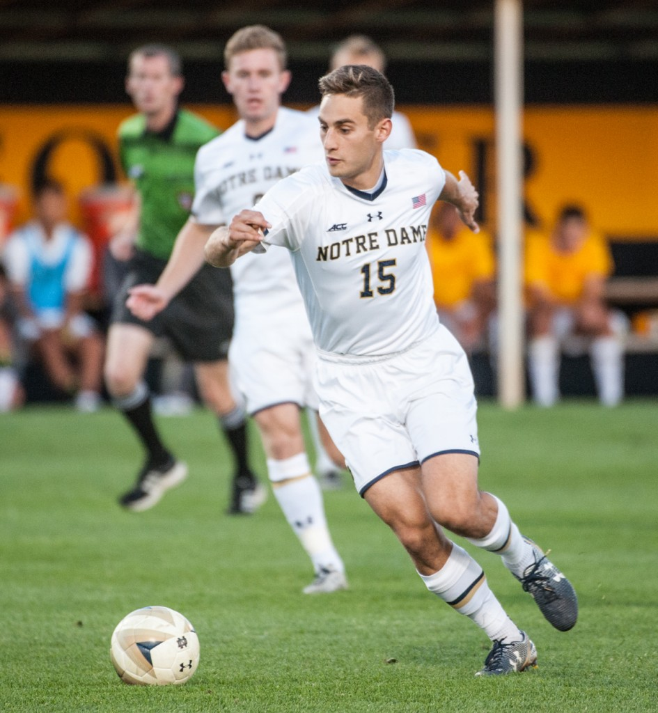 Irish graduate student midfielder Evan Panken dribbles the ball up the field during Notre Dame's 4-0 win over Indiana on Oct. 4 at Alumni Stadium.