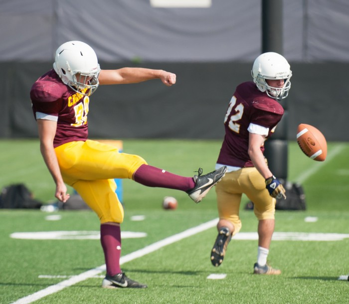 Carroll freshman Justin Buettner punts the ball during Carroll's 14-8 victory over Sorin on Sept. 25 at Labar Practice Complex. Carroll earned the No. 8 seed in the interhall playoffs.
