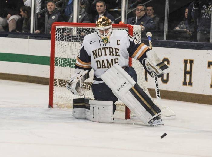 Junior goaltender Cal Petersen stares down a shot attempt during a 4-1 Irish win over UMass Lowell on Nov. 18 at Compton Family Ice Arena.