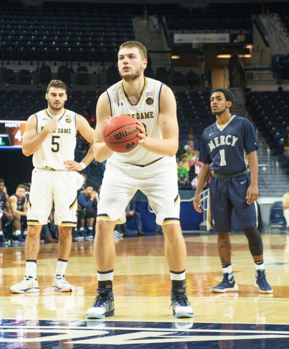 Junior center Martinas Geben prepares for a free throw during Notre Dame's 119-58 victory over Mercy on Tuesday at Purcell Pavilion. Geben totaled 12 points and nine rebounds in the exhibition matchup.