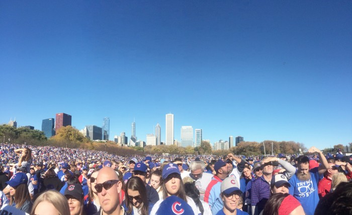 An estimated 5 million people lined the streets of Chicago for the Cubs' World Series victory parade, making it the seventh-largest gathering of people in human history.