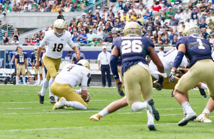 Justin Yoon completes a 31 yard field goal with 7:28 left in the 4th Quarter. This is the last points scored by ND in the game.