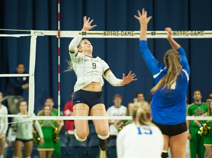 Irish sophomore outside hitter Rebecca Nunge looks to tip the ball during Notre Dame's 3-1 win over Duke on Sept. 30 at Purcell Pavilion.