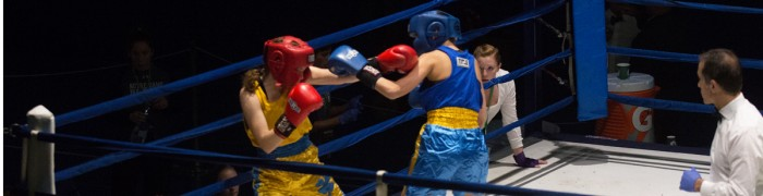 A participant in the 14th Annual Baraka Bouts successfully lands a punch on her opponent at the Joyce Athletic and Convocation Center on Thursday. Baraka Bouts raised a total of $120,000 for the Holy Cross Missions in East Africa as a result of the 2015 tournament. This marks the first year that there will be three rounds of Baraka Bouts.