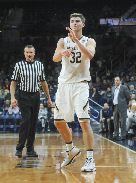 Irish senior captain Steve Vasturia passes the ball during Notre Dame's 89-71 victory over Bryant on Saturday.