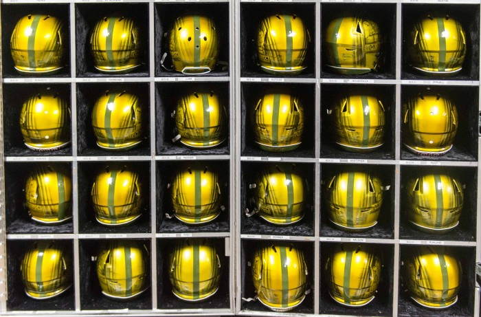 Notre Dame's Shamrock series helmets sit on display for Notre Dame's matchup against Army in San Antonio.