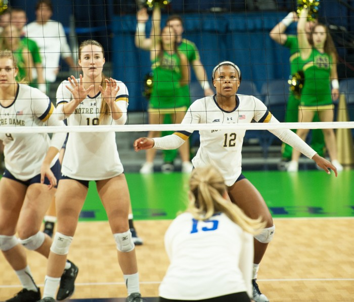 Irish freshman outside hitter Jemma Yeadon gets ready for a spike.