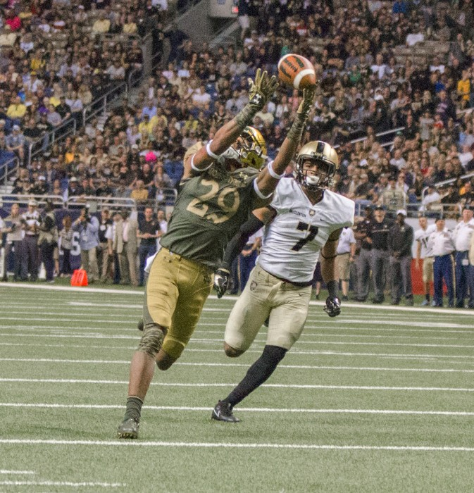 Irish freshman receiver Kevin Stepherson looks to haul in a pass down the field during Notre Dame's 44-6 win over Army on Saturday.