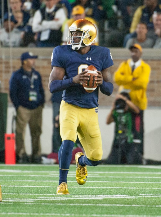 Senior quarterback Malik Zaire drops back to pass during Notre Dame's 17-10 loss to Stanford on Oct. 15 at Notre Dame Stadium.