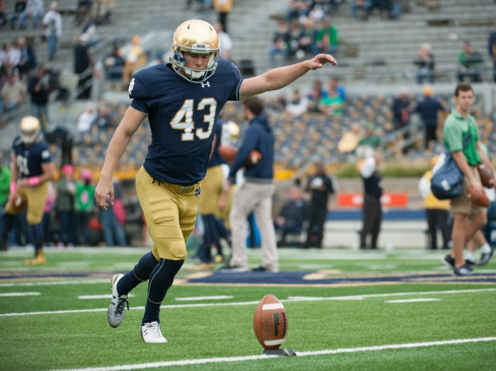 Irish senior kicker John Chereson practices before Notre Dame's victory over Miami on Oct. 29 at Notre Dame Stadium. Chereson kicked off three times in the game, including one that went for a touchback.