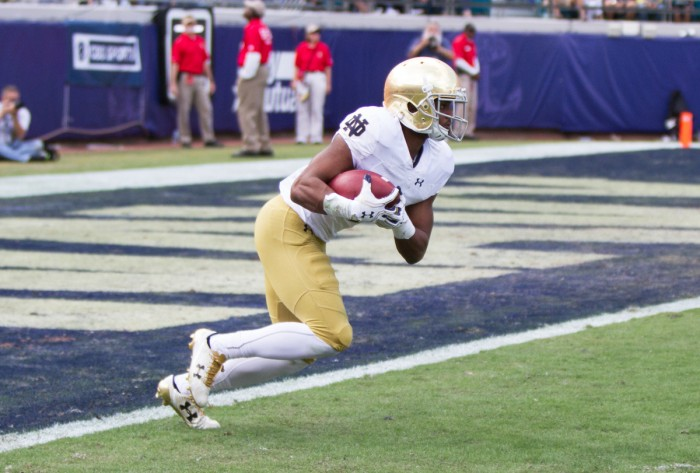 Irish sophomore receiver C.J. Sanders returns a kickoff during Notre Dame's 28-27 loss to Navy on Nov. 5 at EverBank Field. Sanders returned the opening kickoff against Army on Nov. 12 for a touchdown.