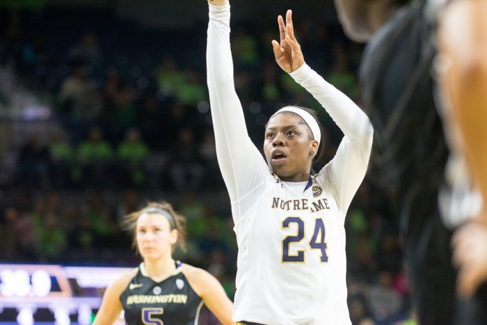 Irish sophomore guard Arike Ogunbowale shoots a free throw during Notre Dame's 71-60 victory over Washington on Sunday afternoon.