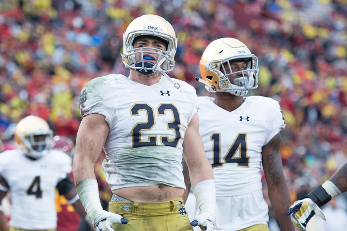 Irish junior safety Drue Tranquill looks to the sidelines following a pass interference call during Notre Dame's 45-27 loss to USC on Saturday at Los Angeles Memorial Coliseum.