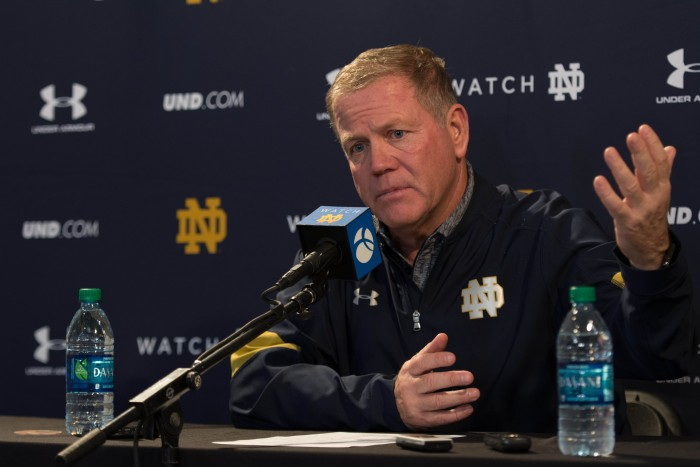 Brian Kelly addresses the media following the 45-27 loss.