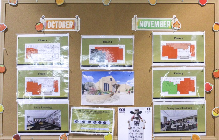 A notice board in North Dining Hall displays renovation plans for the building. Due to the renovations closing off large portions of the building, students will receive $250 of additional Flex Points next semester.