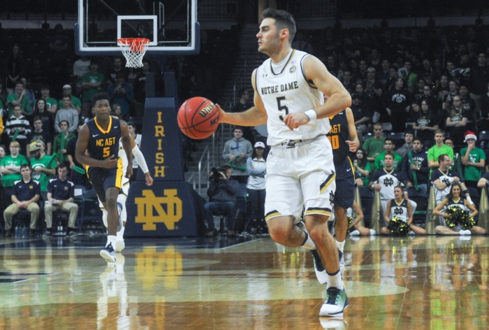 Irish junior guard Matt Farrell brings the ball up the court during Notre Dame's 107-53 Dec. 4 win over North Carolina A&T at Purcell Pavilion.