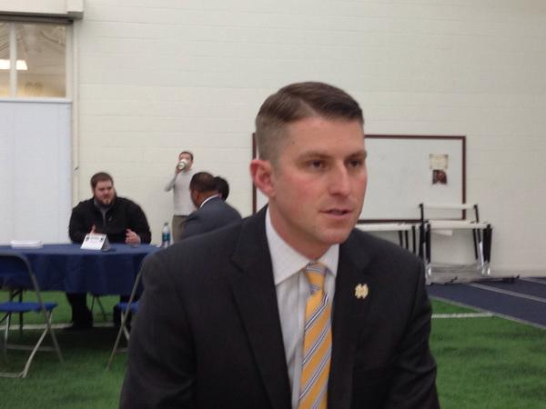Mike Sanford talks to reporters in March of 2015.