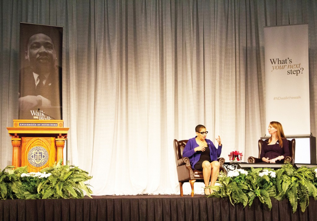 U.S. Court of Appeals Seventh Circuit Judge Ann Claire Williams, left, responds to questions about her  upbringing and memories of the Civil Rights Movement at a luncheon at the Joyce Center on Monday.