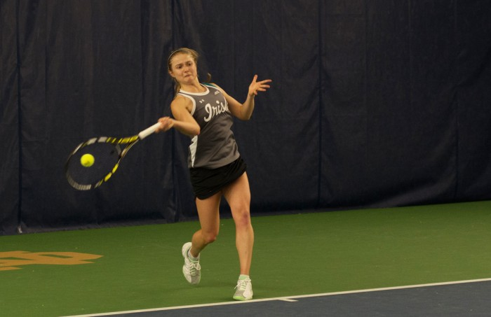 Irish senior Monica Robinson hits a forehand during Notre Dame's 6-1 win over Indiana on Feb. 20 at Eck Tennis Pavilion.