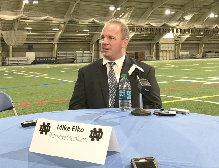 Irish defensive coordinator Mike Elko speaks with the media during the introductory press conference for new coaches Monday.