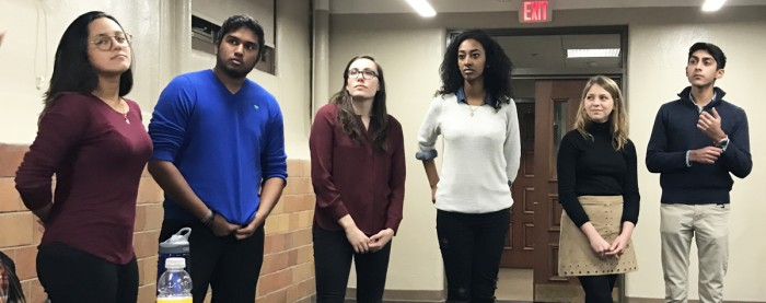 Candidates and campaign managers answer questions at We Stand For's panel Thursday night. Pictured, from Left to Right: Daniela Naramatsu, Rohit Fonseca and Madi Purrenhage; and Sibonay Shewit, Becca Blais and Prathm Juneja.