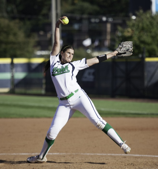 Irish senior pitcher Rachel Nasland delivers a pitch during an exhibition game against Illinois State on Oct. 9 at Melissa Cook Stadium.