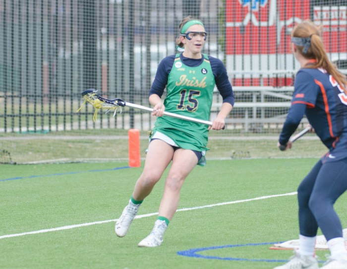 Senior attack Cortney Fortunato surveys the field during Notre Dame's 16-4 victory over Virginia on March 19, 2016 at Arlotta Stadium.