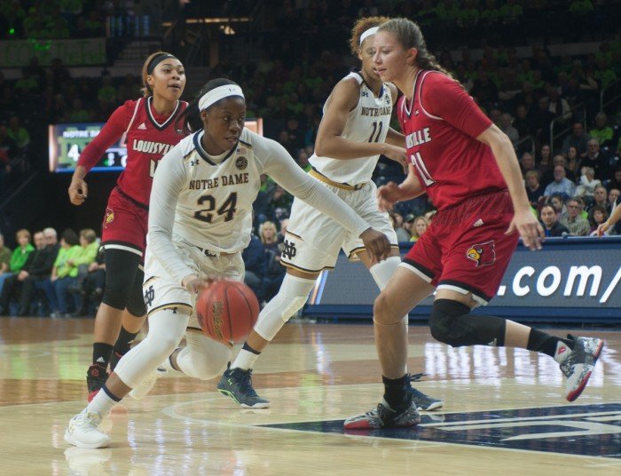 Irish sophomore guard Arike Ogunbowale drives into the lane during Notre Dame's 85-66 win over Louisville on Monday at Purcell Pavilion.