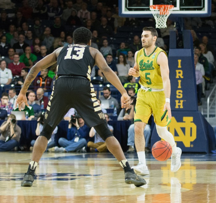 Irish junior guard Matt Farrell brings the ball across half court during Notre Dame's 88-81 win over Wake Forest on Tuesday at Purcell Pavilion.