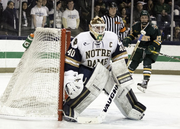 Irish junior goalie Cal Petersen mans his post in goal during Notre Dame's 4-1 win over Vermont on Feb. 4 at Compton Family Ice Arena.
