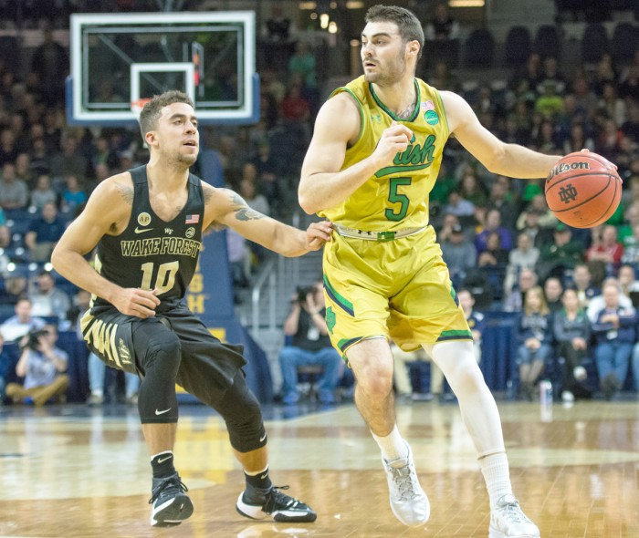 Irish junior guard Matt Farrell controls his dribble during Notre Dame's 88-81 win over Wake Forest on Feb. 7 at Purcell Pavilion.