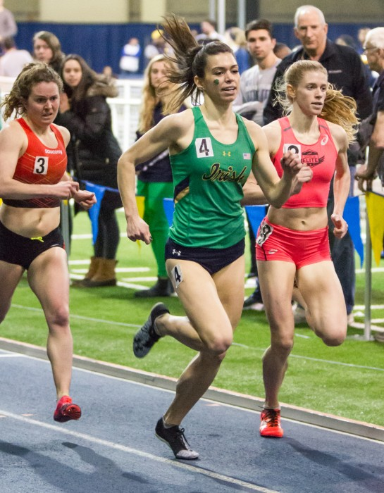 Irish junior runner Jessica Harris competes during the Meyo Invitational on Feb. 4 at Loftus Sports Complex. Harris won the mile event at the Alex Wilson invitational on Saturday.