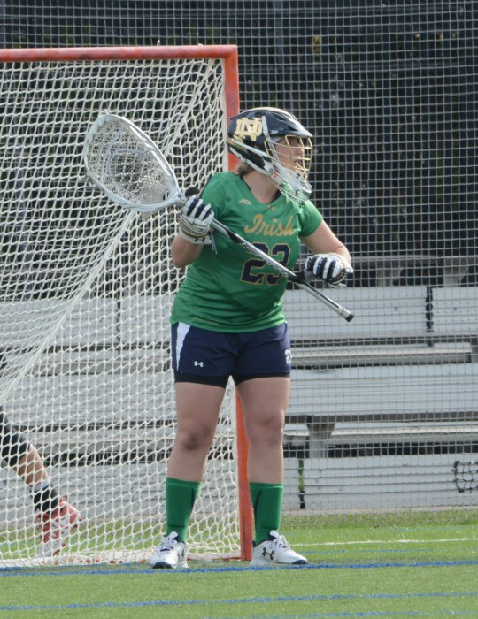 Irish sophomore goalie Samantha Giacolone guards the goal during Notre Dame's 5-4 loss to USC on April 18 at Arlotta Stadium.