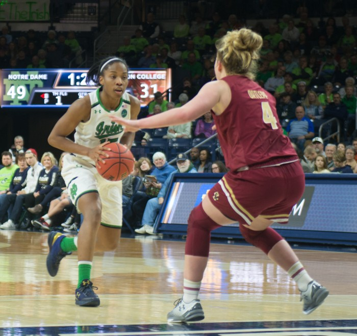 Irish senior guard Lindsay Allen drives at a defender during Notre Dame's 82-45 win over Boston College on Thursday at Purcell Pavilion.