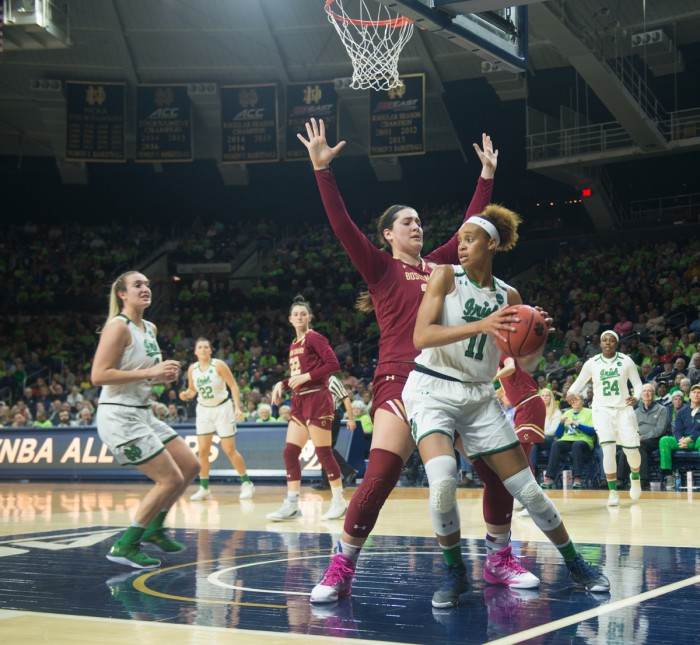 Junior forward Brianna Turner spins around a defender on the baseline during Notre Dame's 82-45 win over Boston College on Thursday at Purcell Pavilion.